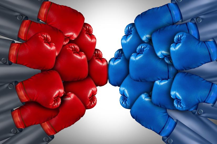 trade war boxing gloves
