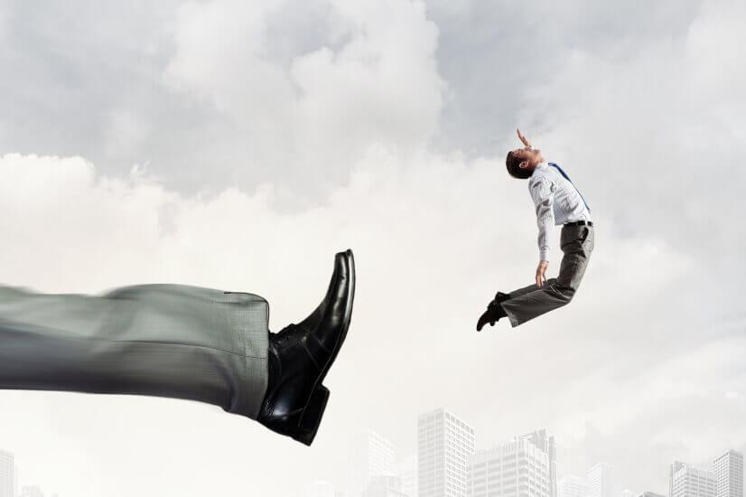 Angry employee, employer, kicking