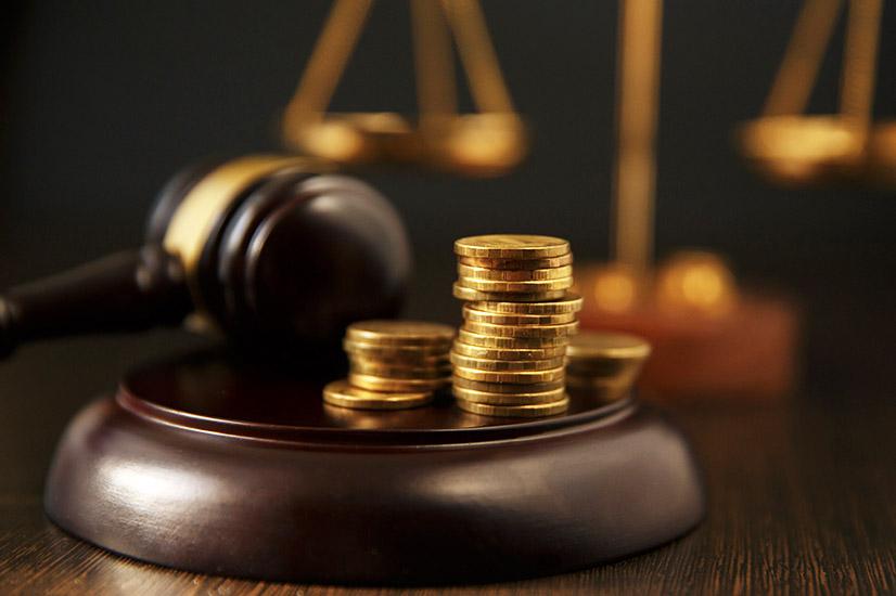 Court gavel and money