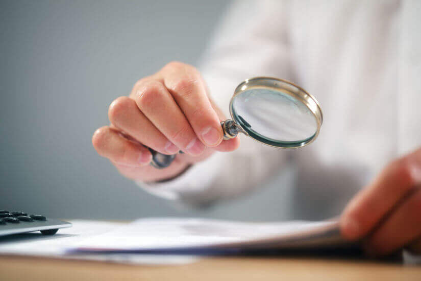 Review, magnifying glass, document