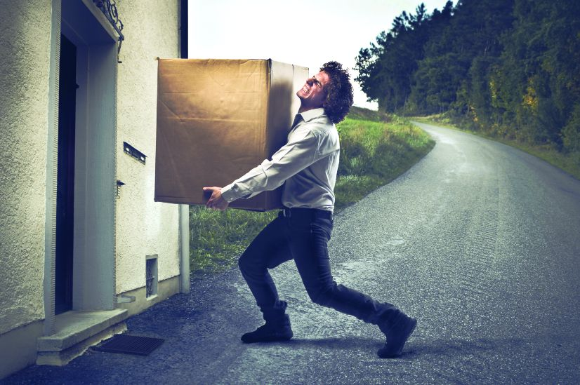 Man carrying a box, financial year,
