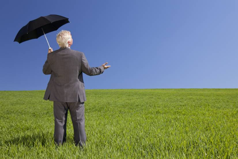 Man holding an umbrella