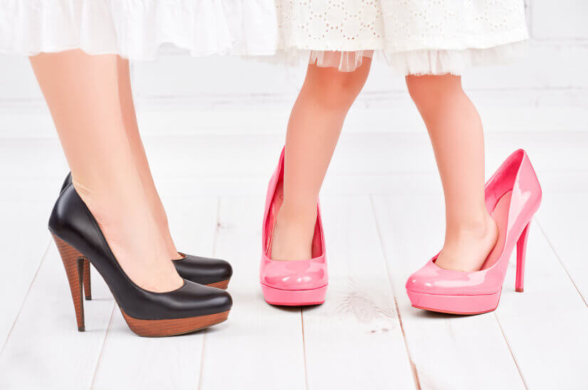 Mother's Day, mother and daughter shoes