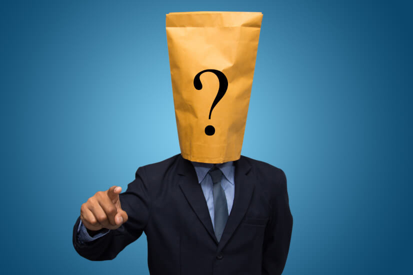 Question mark, paper bag in the head