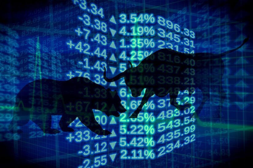 bear and bull silhoutte digital numbers investing in blue chip stocks