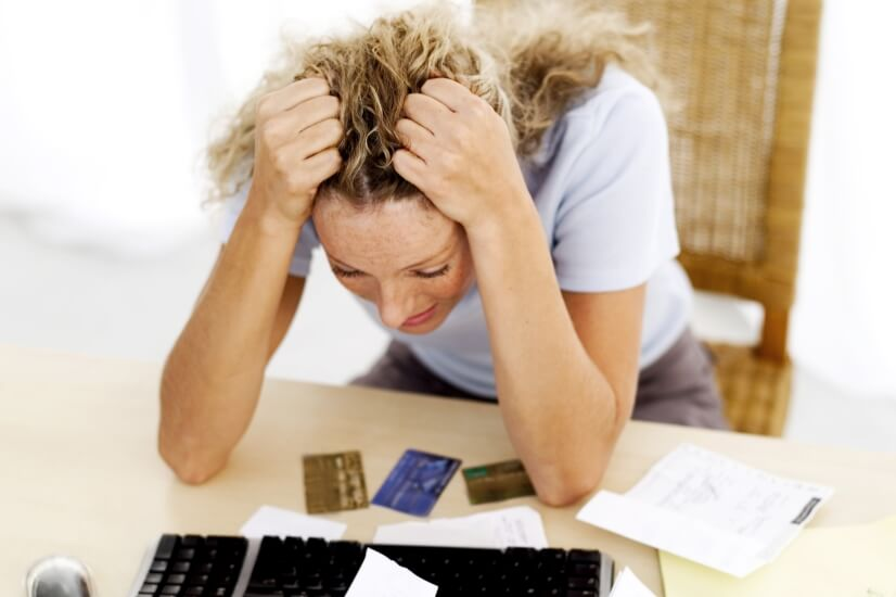Woman financial stress