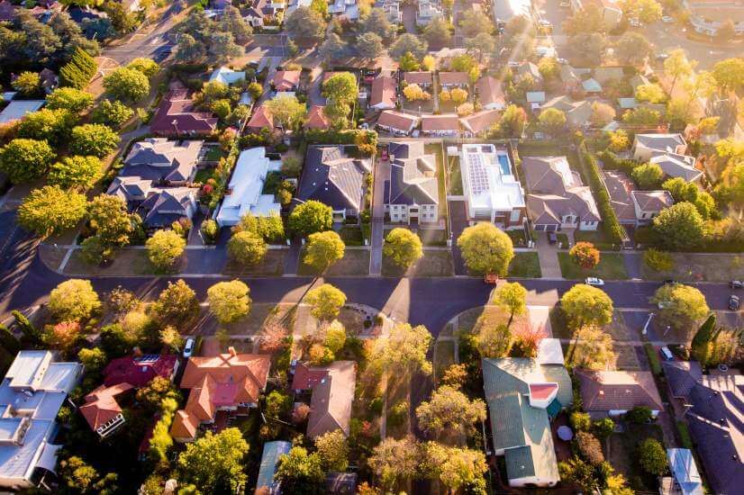 row of houses suburb aerial view cityscape home loan rejections refinancing
