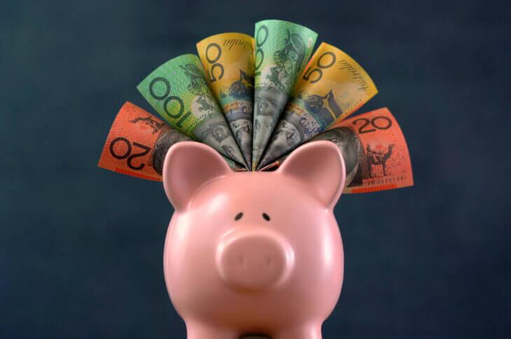 Piggy bank and Australian banknotes