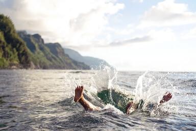 Sinking in the ocean