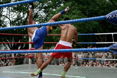 Muay thai fighters in ring